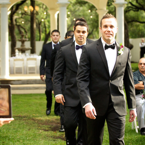 Small intimate wedding with groomsmen